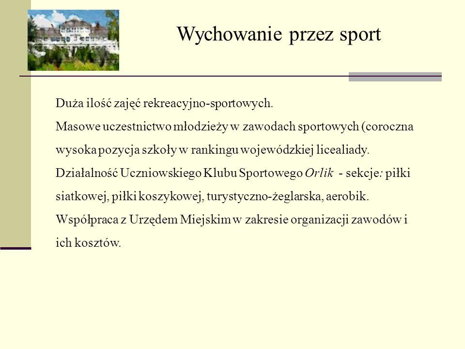 Wychowanie przez sport Duża ilość zajęć rekreacyjno-sportowych. Masowe uczestnictwo młodzieży w zawodach sportowych (coroczna wysoka pozycja szkoły w