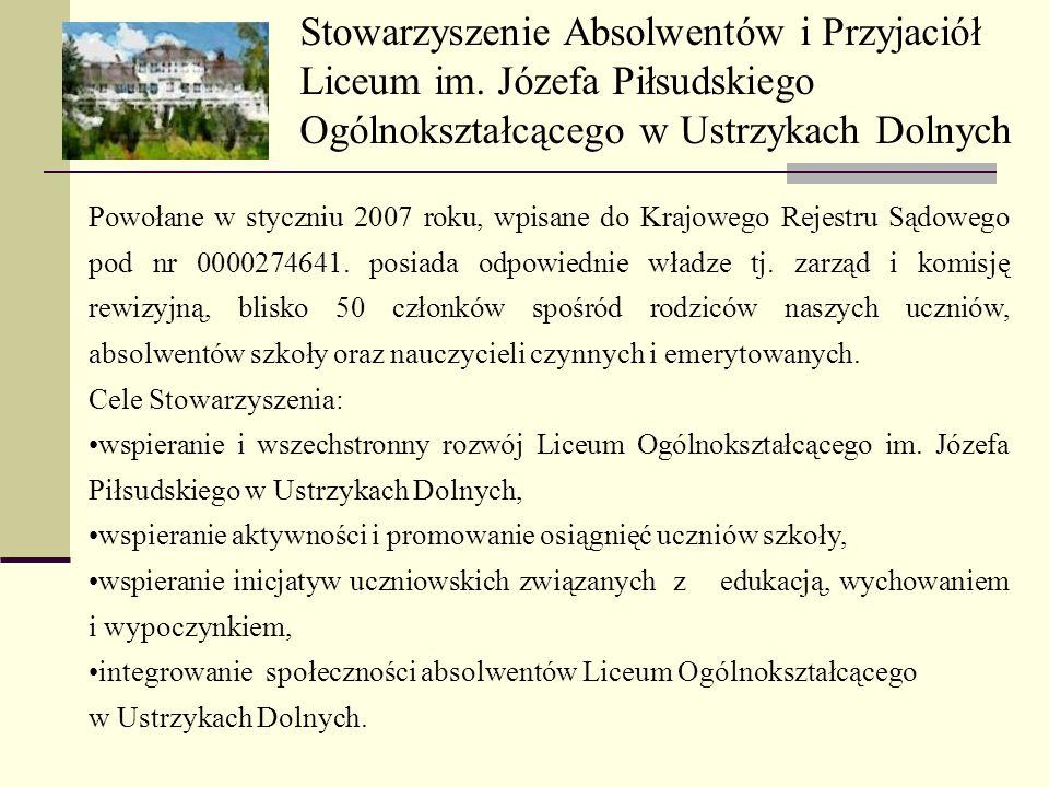 Stowarzyszenie Absolwentów i Przyjaciół Liceum im. Józefa Piłsudskiego Ogólnokształcącego w Ustrzykach Dolnych Powołane w styczniu 2007 roku, wpisane