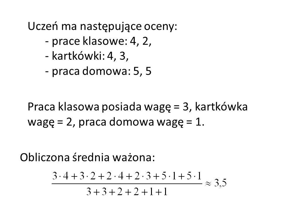 Uczeń ma następujące oceny: - prace klasowe: 4, 2, - kartkówki: 4, 3, - praca domowa: 5, 5 Praca klasowa posiada wagę = 3, kartkówka wagę = 2, praca d