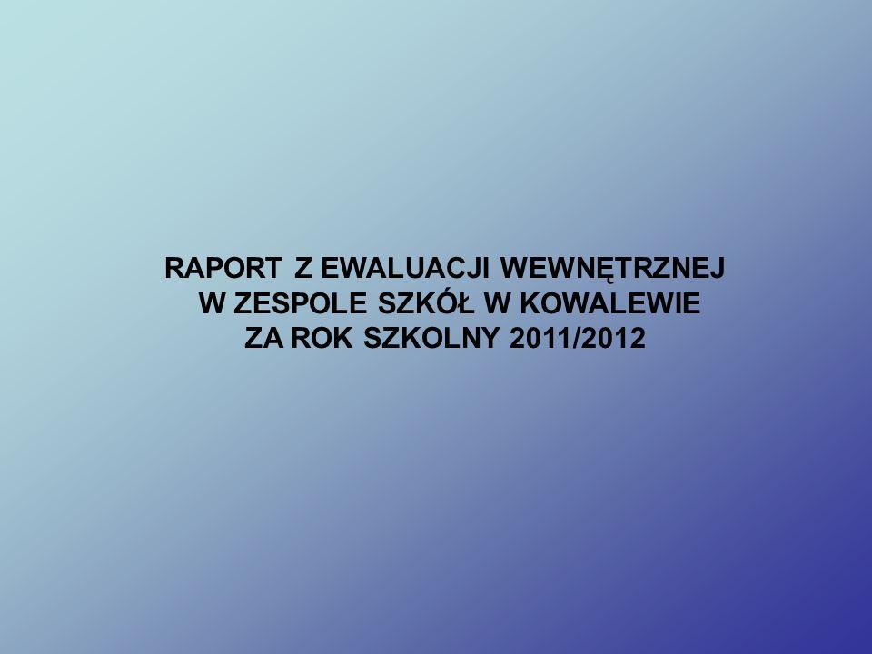 RAPORT Z EWALUACJI WEWNĘTRZNEJ W ZESPOLE SZKÓŁ W KOWALEWIE ZA ROK SZKOLNY 2011/2012