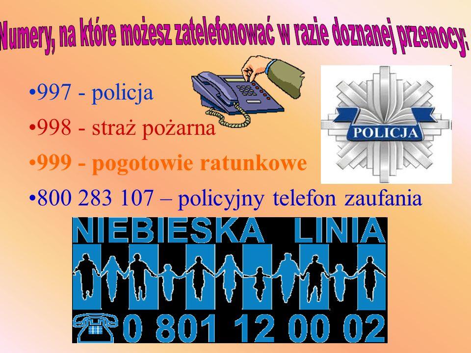 997 - policja 998 - straż pożarna 999 - pogotowie ratunkowe 800 283 107 – policyjny telefon zaufania