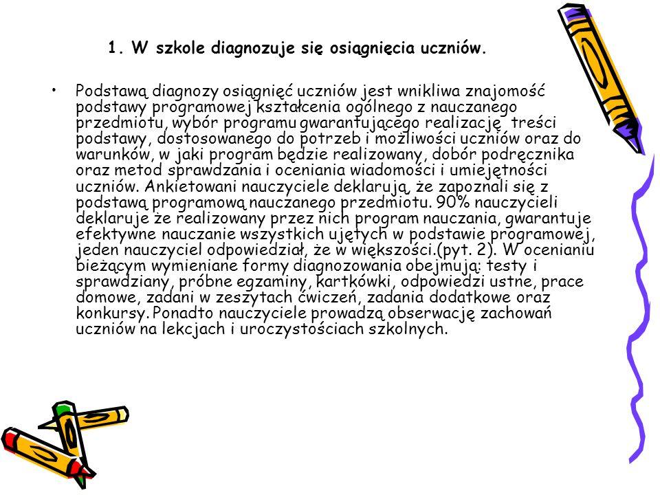 1.W szkole diagnozuje się osiągnięcia uczniów.