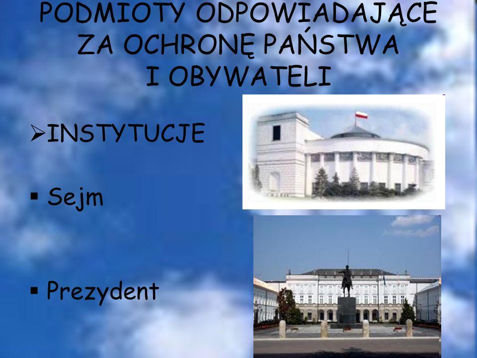 PODMIOTY ODPOWIADAJĄCE ZA OCHRONĘ PAŃSTWA I OBYWATELI INSTYTUCJE Sejm Prezydent