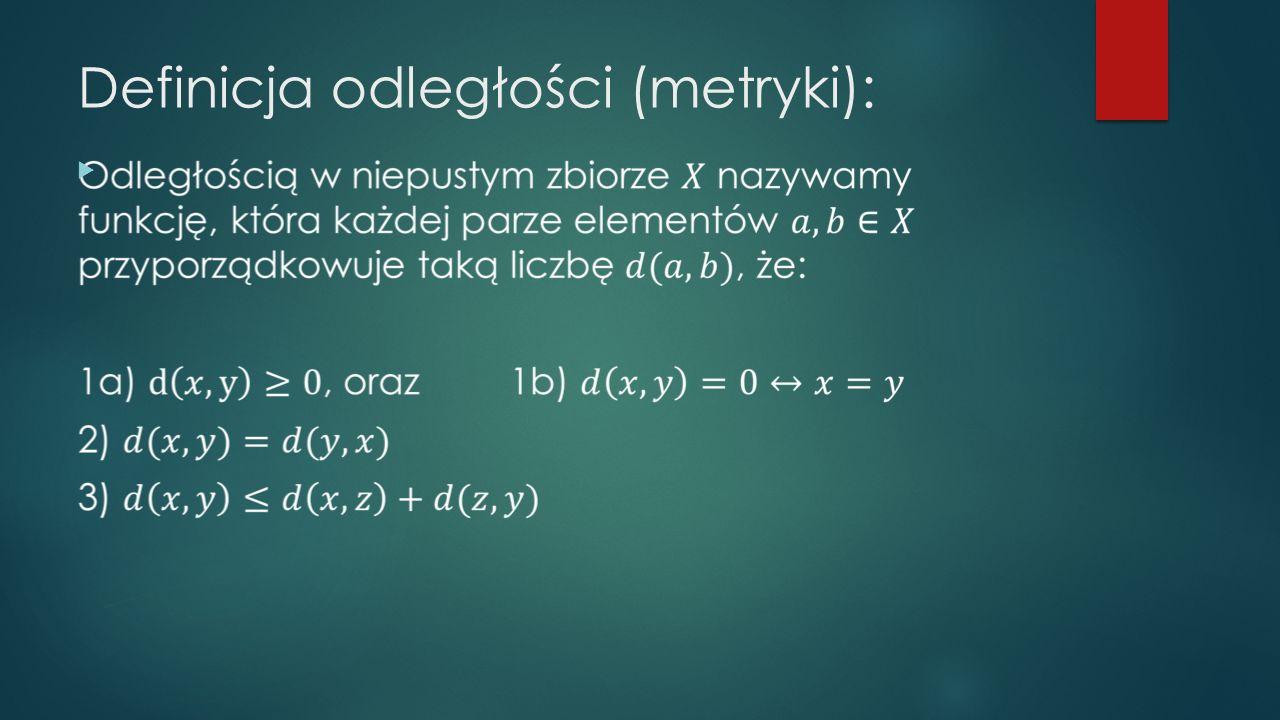 Definicja odległości (metryki):