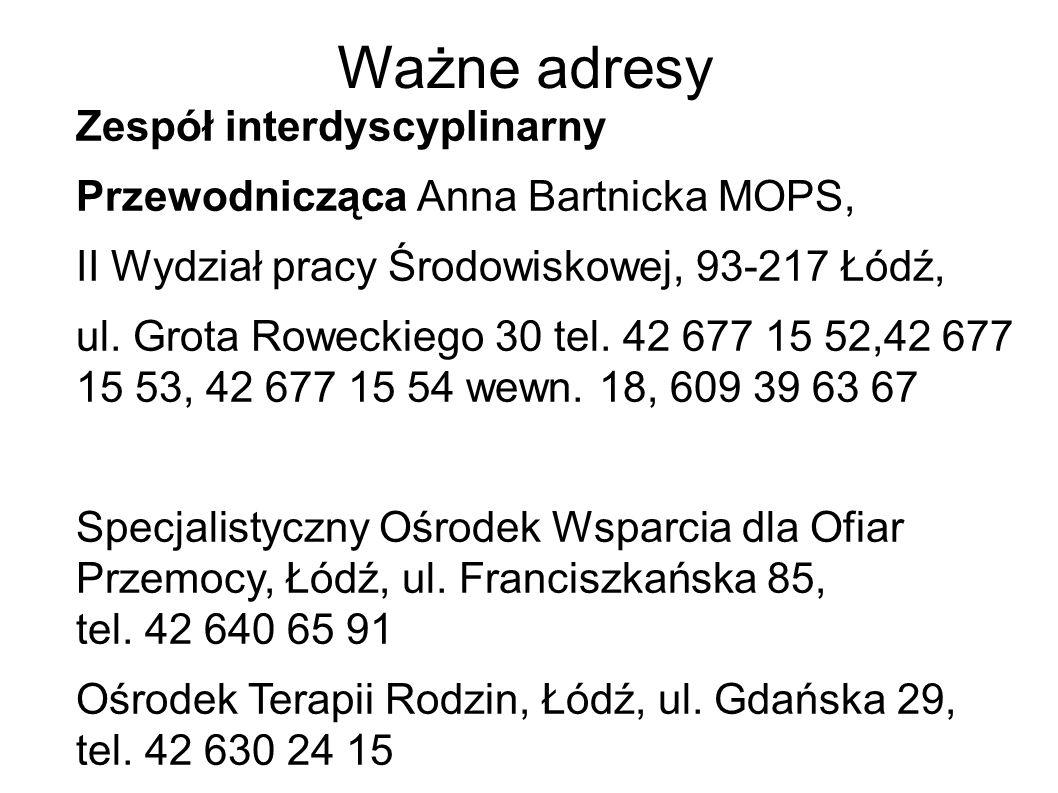 Ważne adresy Zespół interdyscyplinarny Przewodnicząca Anna Bartnicka MOPS, II Wydział pracy Środowiskowej, 93-217 Łódź, ul. Grota Roweckiego 30 tel. 4