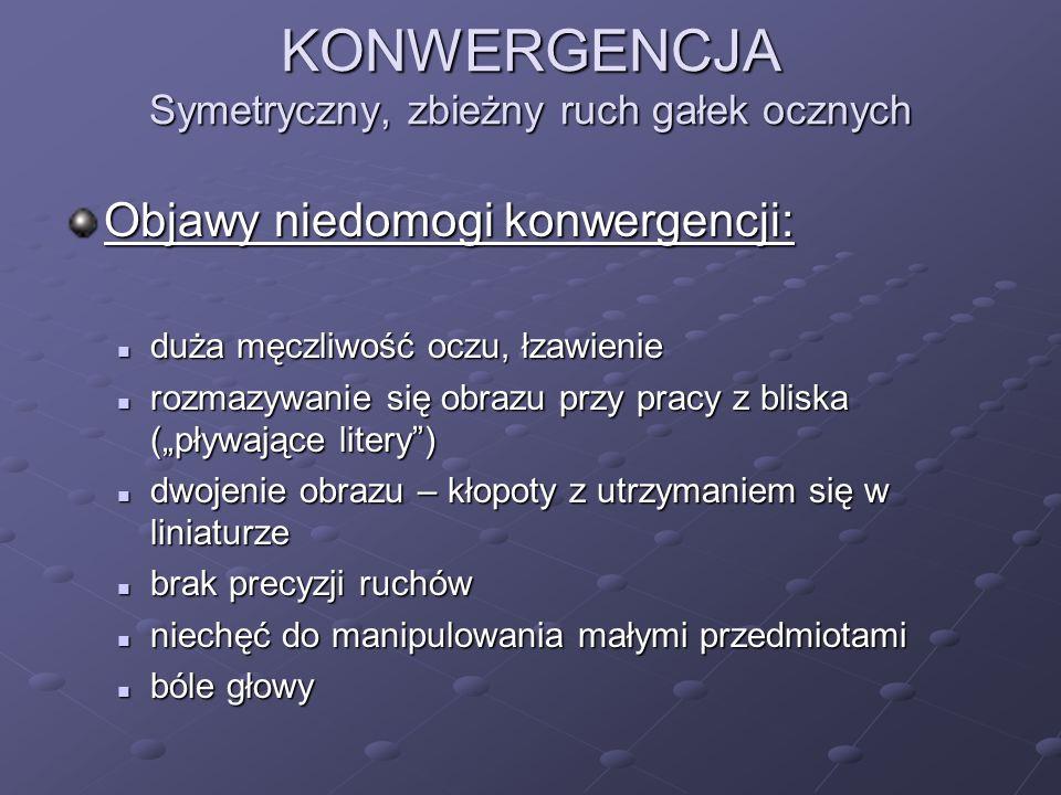 KONWERGENCJA Symetryczny, zbieżny ruch gałek ocznych Objawy niedomogi konwergencji: duża męczliwość oczu, łzawienie duża męczliwość oczu, łzawienie ro