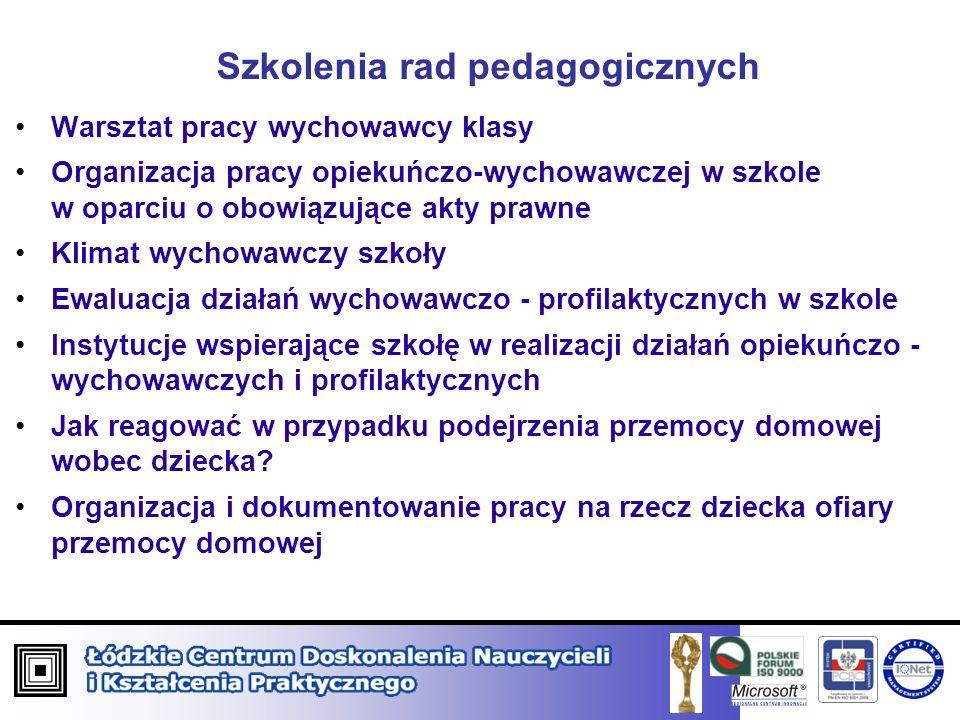 Szkolenia rad pedagogicznych Warsztat pracy wychowawcy klasy Organizacja pracy opiekuńczo-wychowawczej w szkole w oparciu o obowiązujące akty prawne K