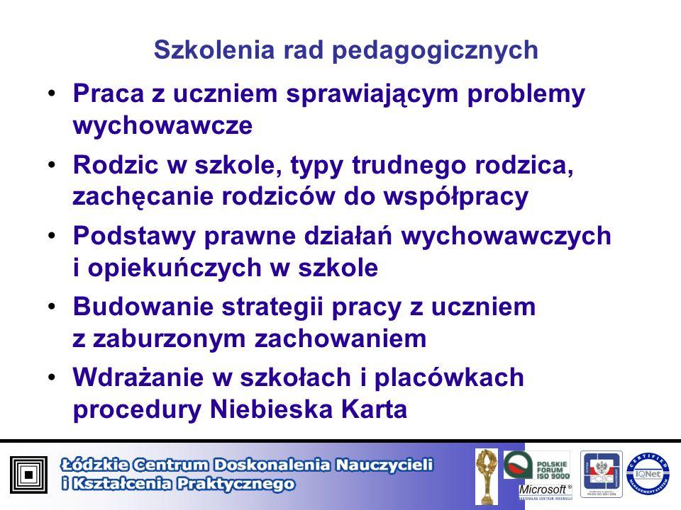 Szkolenia rad pedagogicznych Praca z uczniem sprawiającym problemy wychowawcze Rodzic w szkole, typy trudnego rodzica, zachęcanie rodziców do współpra