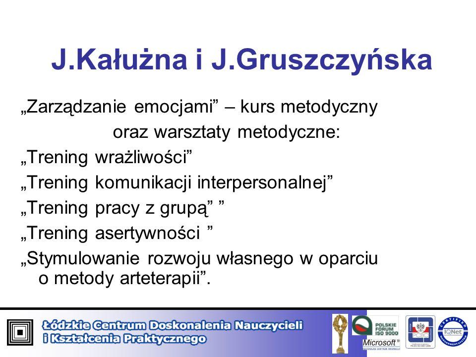 J.Kałużna i J.Gruszczyńska Zarządzanie emocjami – kurs metodyczny oraz warsztaty metodyczne: Trening wrażliwości Trening komunikacji interpersonalnej