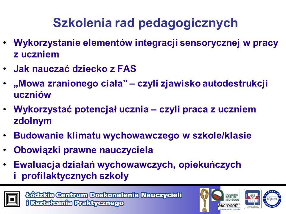 Szkolenia rad pedagogicznych Wykorzystanie elementów integracji sensorycznej w pracy z uczniem Jak nauczać dziecko z FAS Mowa zranionego ciała – czyli