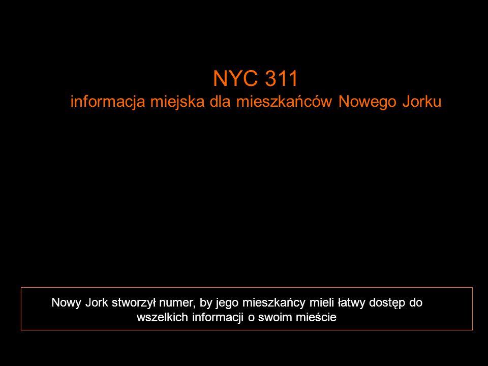 1 Nowy Jork stworzył numer, by jego mieszkańcy mieli łatwy dostęp do wszelkich informacji o swoim mieście NYC 311 informacja miejska dla mieszkańców N