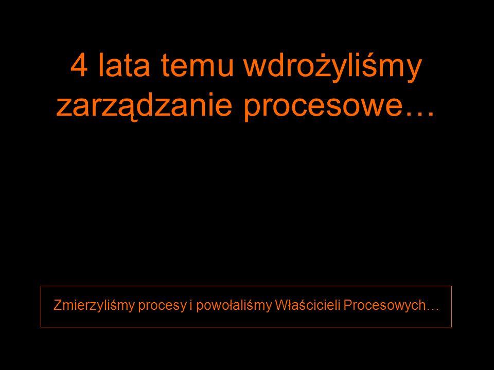 1 4 lata temu wdrożyliśmy zarządzanie procesowe… Zmierzyliśmy procesy i powołaliśmy Właścicieli Procesowych…