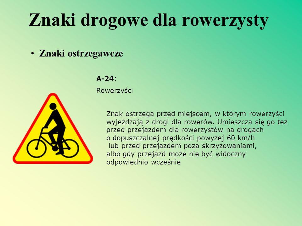 Znaki drogowe dla rowerzysty A-24: Rowerzyści Znak ostrzega przed miejscem, w którym rowerzyści wyjeżdżają z drogi dla rowerów. Umieszcza się go też p