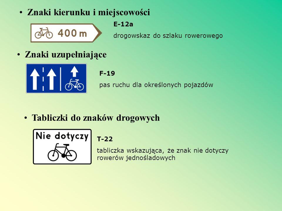 Znaki kierunku i miejscowości Znaki uzupełniające E-12a drogowskaz do szlaku rowerowego F-19 pas ruchu dla określonych pojazdów Tabliczki do znaków dr