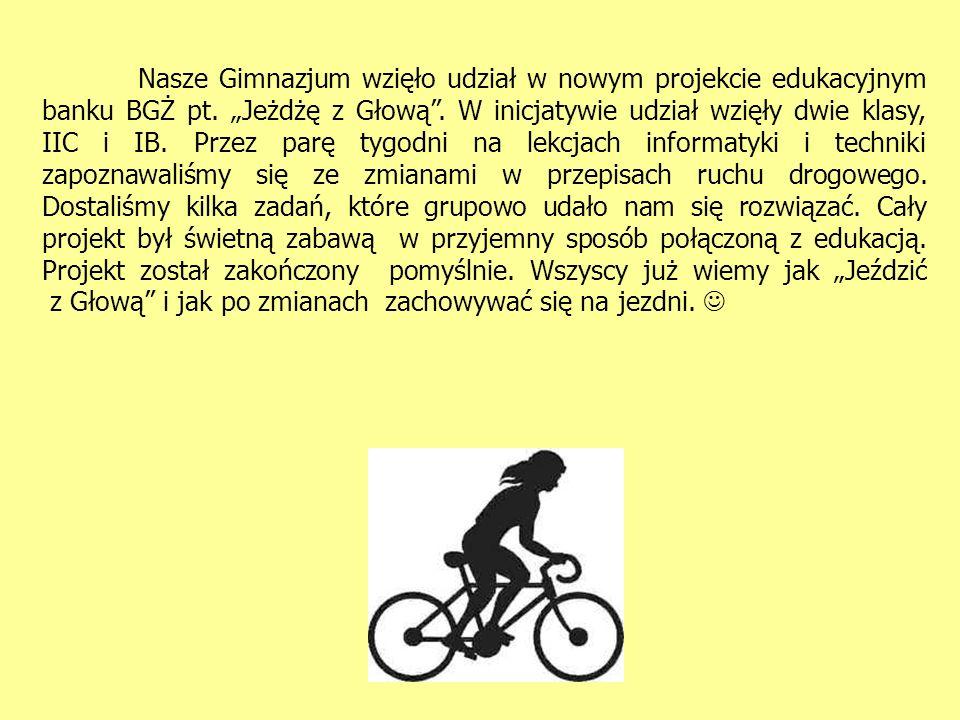 Nasze Gimnazjum wzięło udział w nowym projekcie edukacyjnym banku BGŻ pt.