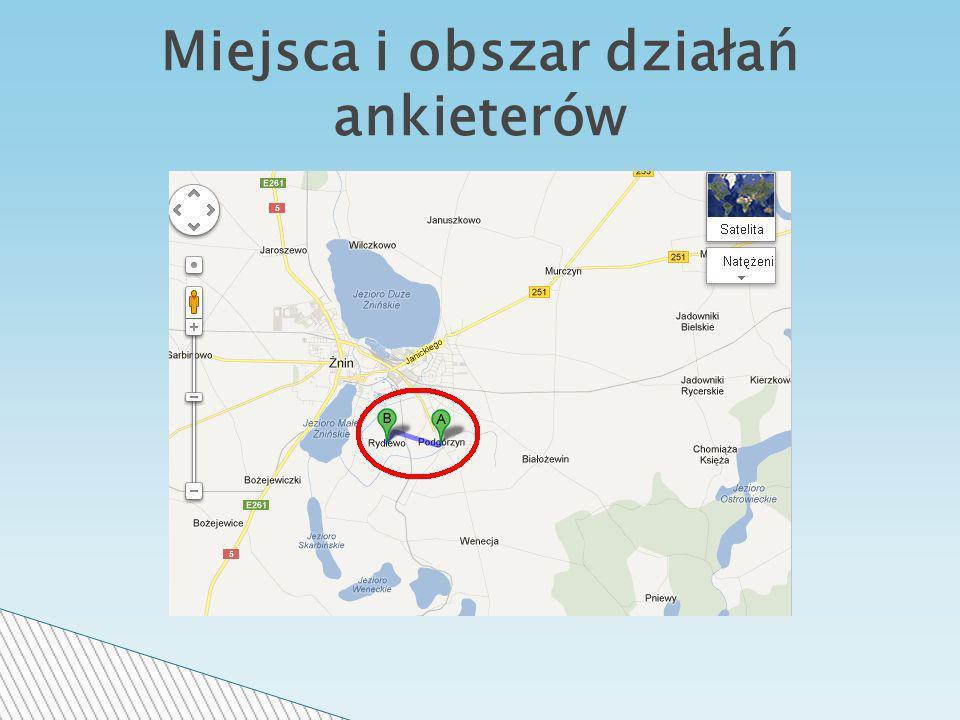 Miejsca i obszar działań ankieterów