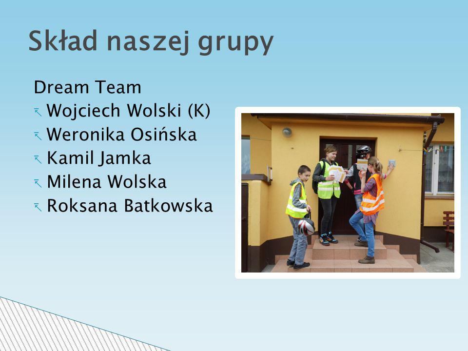 Dream Team Wojciech Wolski (K) Weronika Osińska Kamil Jamka Milena Wolska Roksana Batkowska Skład naszej grupy