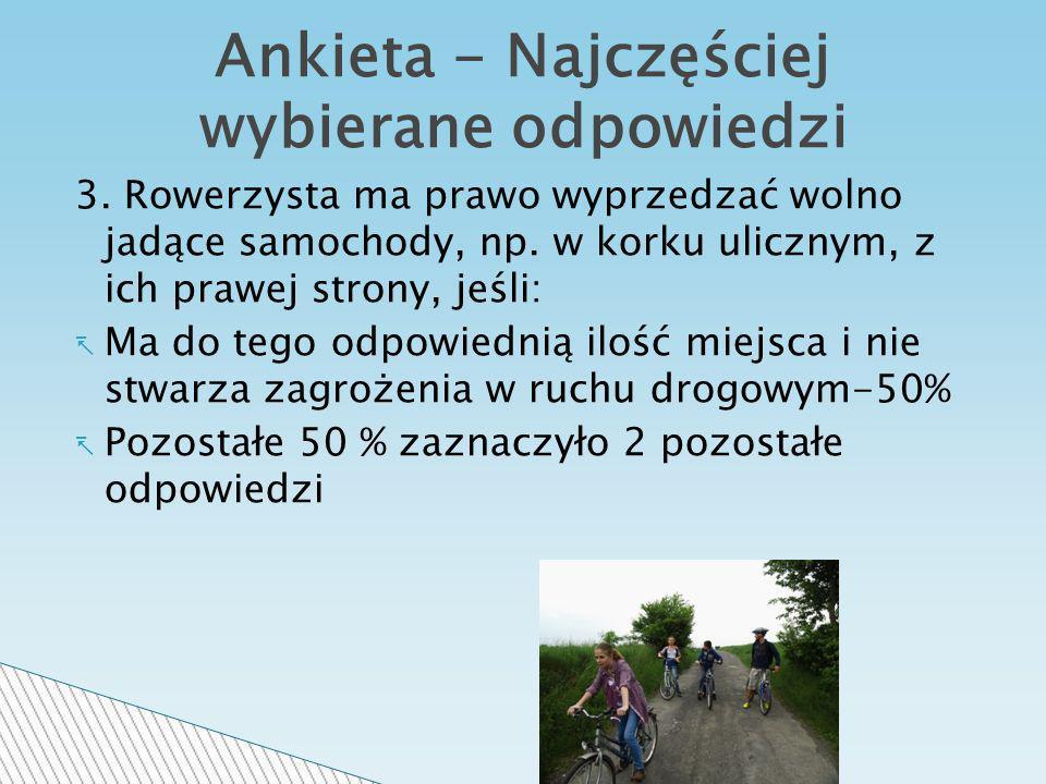 3.Rowerzysta ma prawo wyprzedzać wolno jadące samochody, np.
