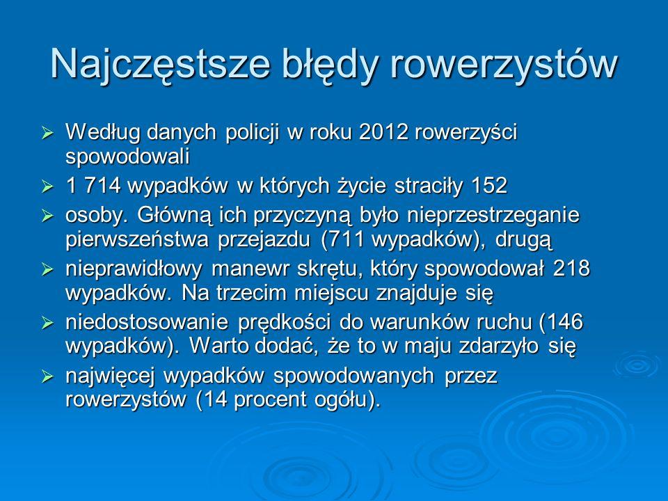 Najczęstsze błędy rowerzystów Według danych policji w roku 2012 rowerzyści spowodowali Według danych policji w roku 2012 rowerzyści spowodowali 1 714