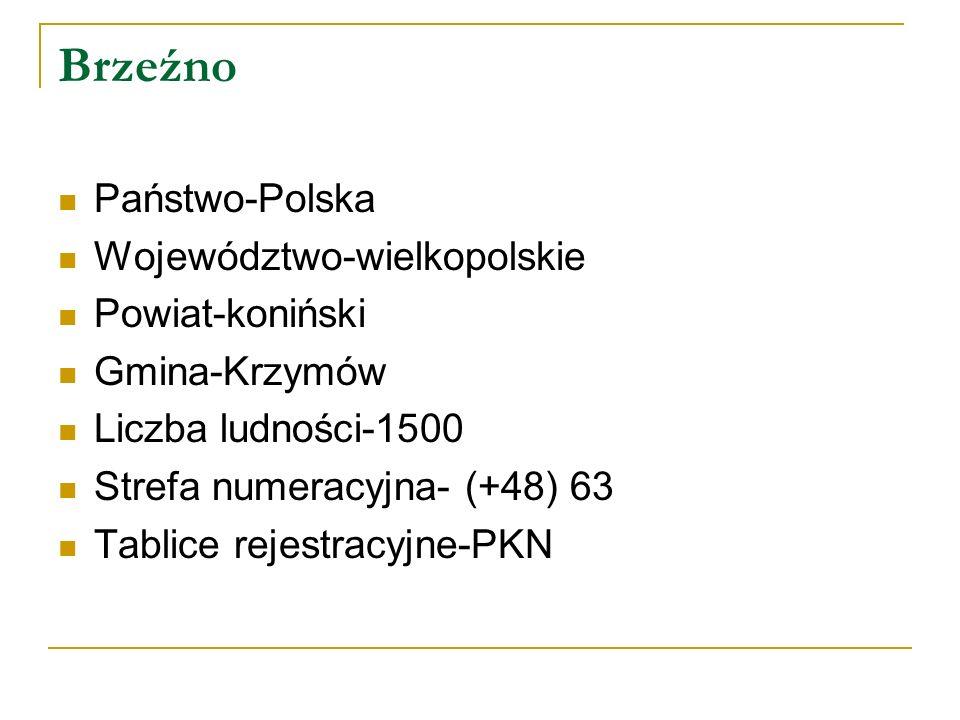Brzeźno Państwo-Polska Województwo-wielkopolskie Powiat-koniński Gmina-Krzymów Liczba ludności-1500 Strefa numeracyjna- (+48) 63 Tablice rejestracyjne