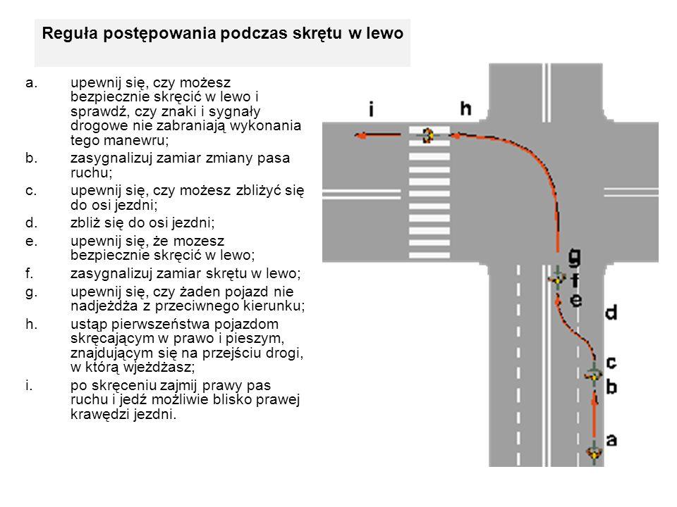 a.upewnij się, czy możesz bezpiecznie skręcić w lewo i sprawdź, czy znaki i sygnały drogowe nie zabraniają wykonania tego manewru; b.zasygnalizuj zami