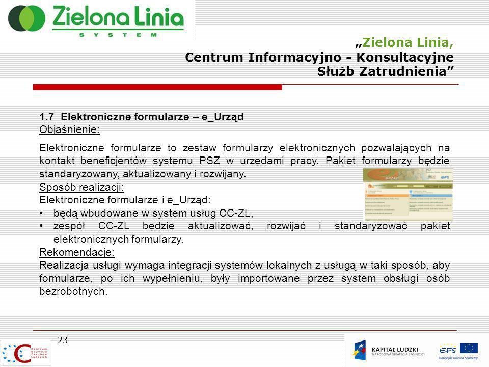 Zielona Linia, Centrum Informacyjno - Konsultacyjne Służb Zatrudnienia 23 1.7 Elektroniczne formularze – e_Urząd Objaśnienie: Elektroniczne formularze