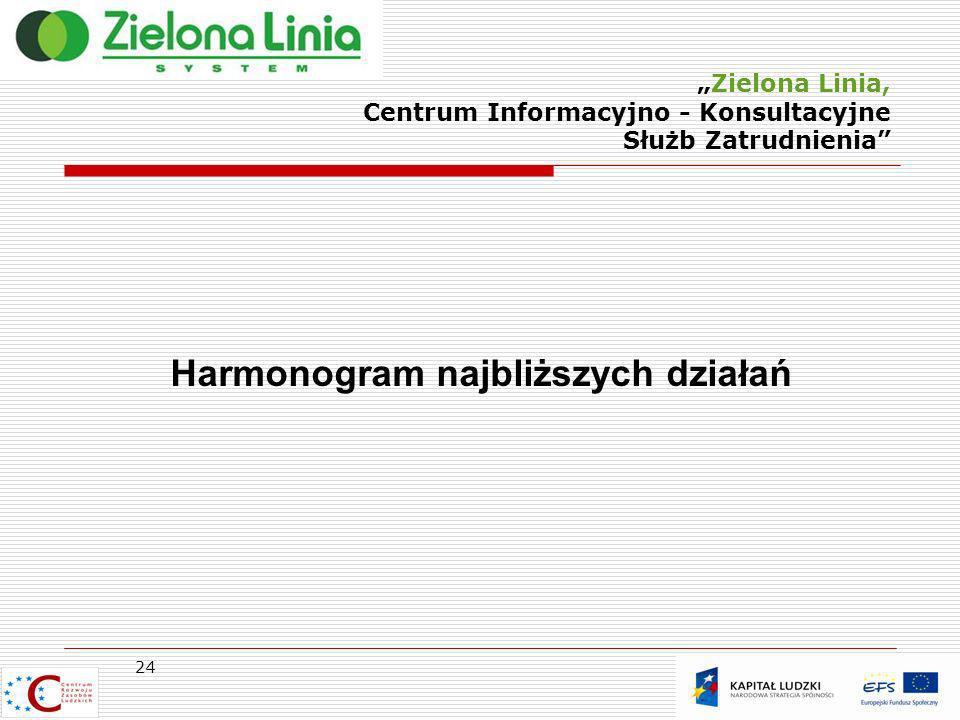 Zielona Linia, Centrum Informacyjno - Konsultacyjne Służb Zatrudnienia 24 Harmonogram najbliższych działań