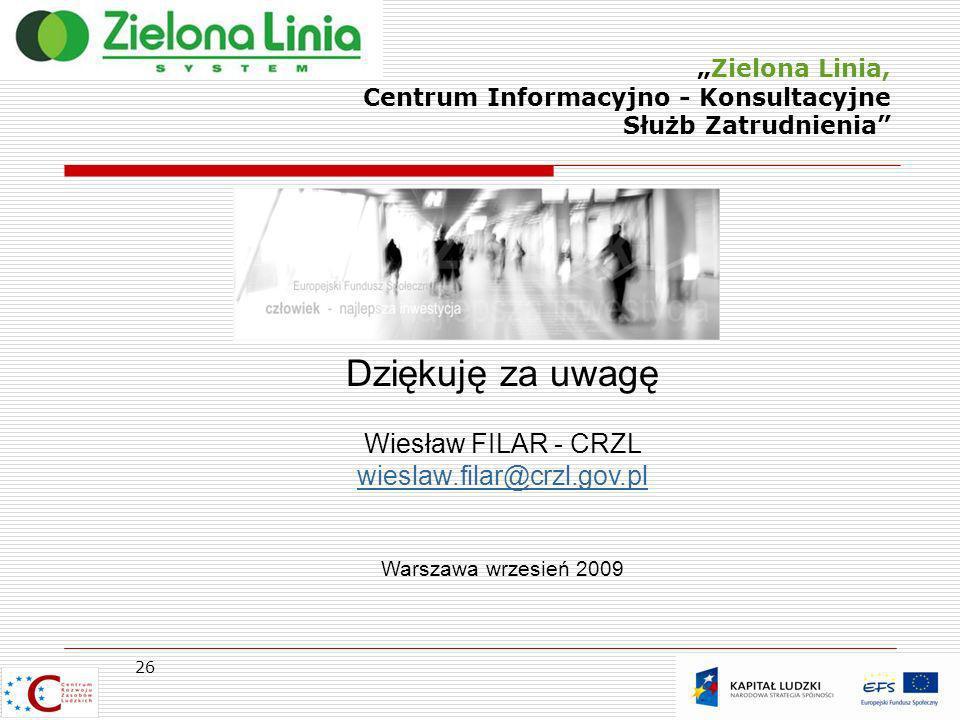 Zielona Linia, Centrum Informacyjno - Konsultacyjne Służb Zatrudnienia Dziękuję za uwagę Wiesław FILAR - CRZL wieslaw.filar@crzl.gov.pl Warszawa wrzes