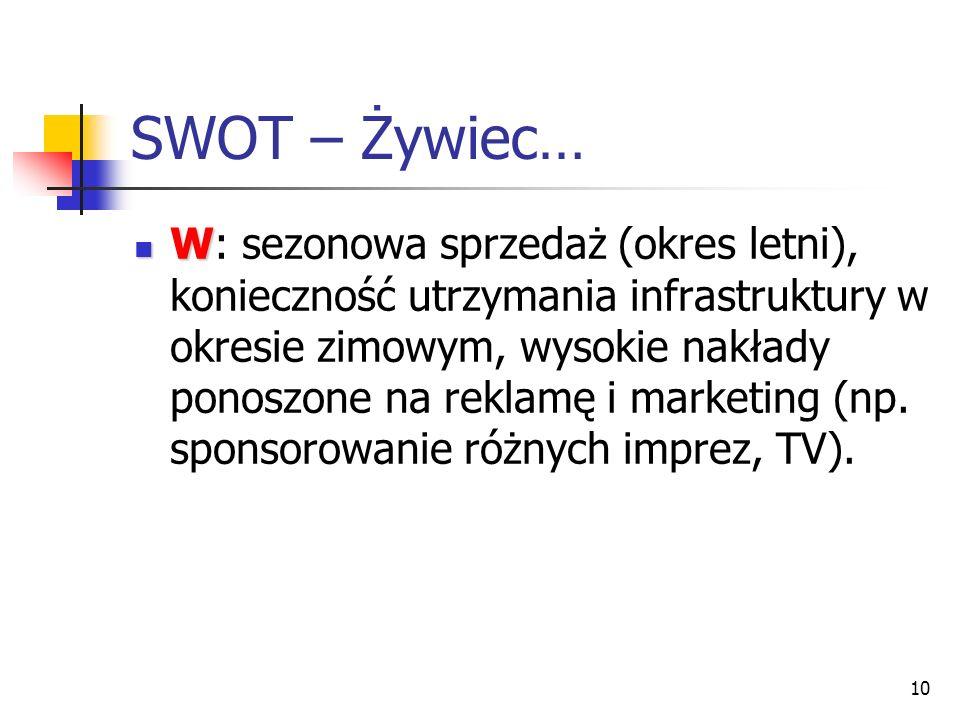 10 SWOT – Żywiec… W W: sezonowa sprzedaż (okres letni), konieczność utrzymania infrastruktury w okresie zimowym, wysokie nakłady ponoszone na reklamę