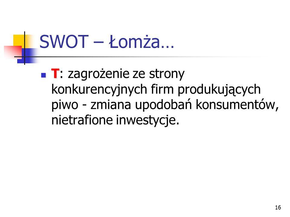 16 SWOT – Łomża… T T: zagrożenie ze strony konkurencyjnych firm produkujących piwo - zmiana upodobań konsumentów, nietrafione inwestycje.