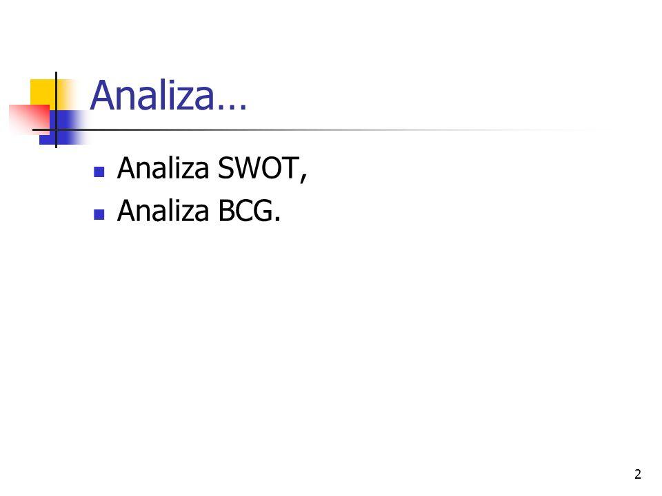2 Analiza… Analiza SWOT, Analiza BCG.