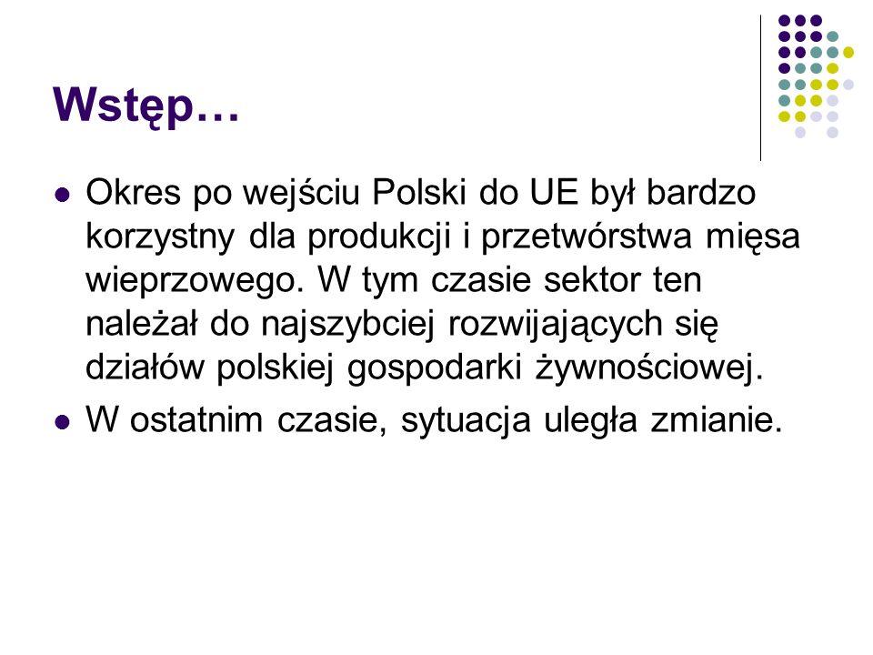 Wstęp… Okres po wejściu Polski do UE był bardzo korzystny dla produkcji i przetwórstwa mięsa wieprzowego. W tym czasie sektor ten należał do najszybci
