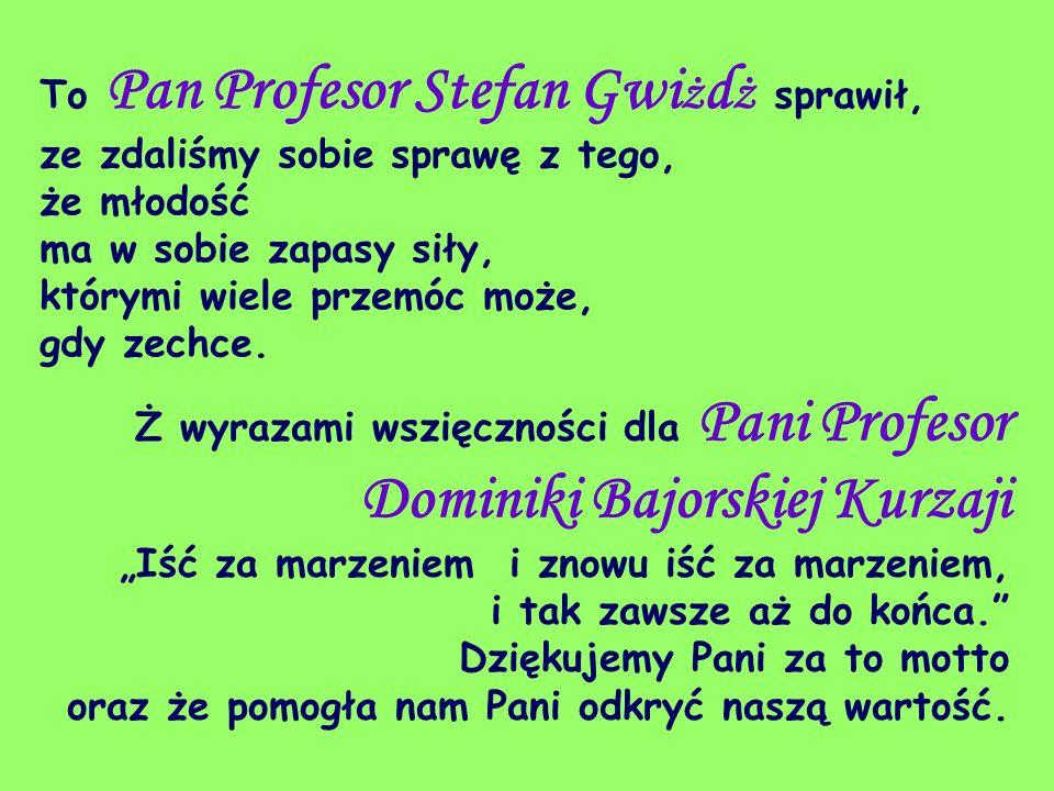 To Pan Profesor Stefan Gwi ż d ż sprawił, ze zdaliśmy sobie sprawę z tego, że młodość ma w sobie zapasy siły, którymi wiele przemóc może, gdy zechce.