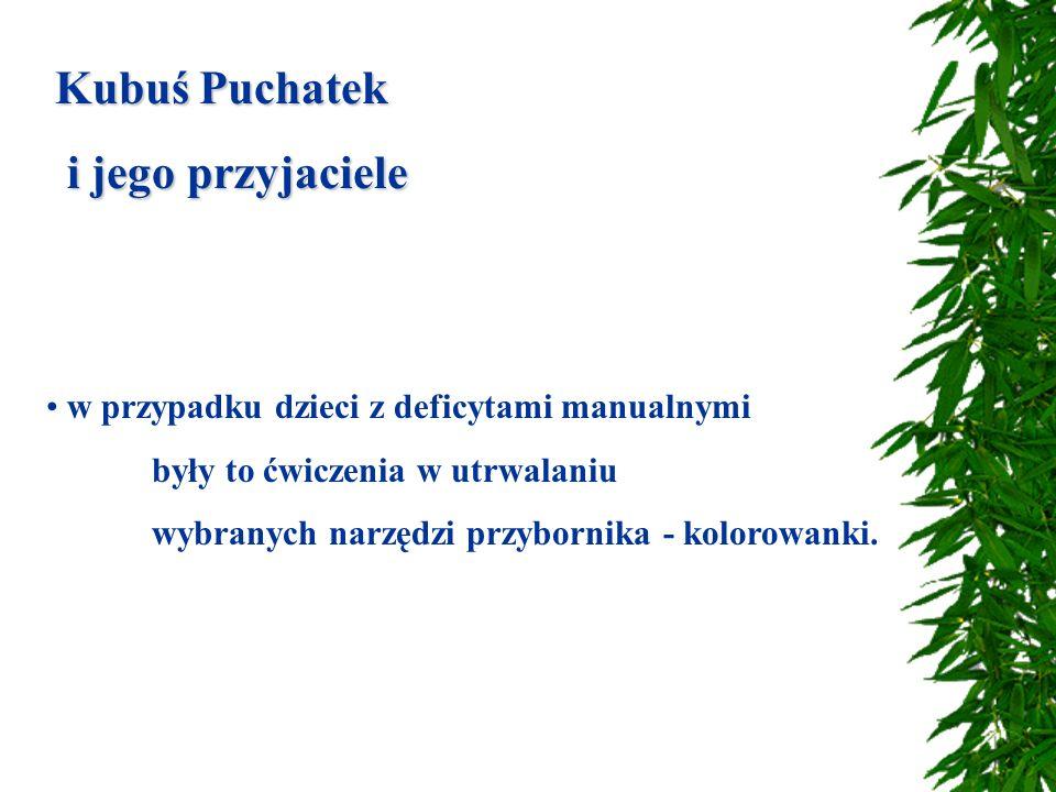 Kubuś Puchatek i jego przyjaciele i jego przyjaciele w przypadku dzieci z deficytami manualnymi były to ćwiczenia w utrwalaniu wybranych narzędzi przybornika - kolorowanki.
