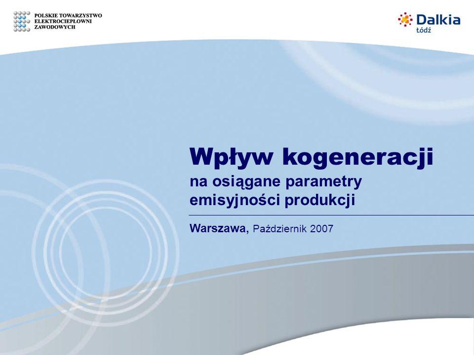 Wpływ kogeneracji na osiągane parametry emisyjności produkcji Warszawa, Październik 2007