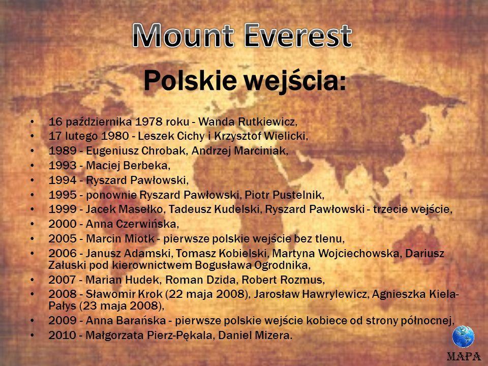 Polskie wejścia: 16 października 1978 roku - Wanda Rutkiewicz, 17 lutego 1980 - Leszek Cichy i Krzysztof Wielicki, 1989 - Eugeniusz Chrobak, Andrzej M