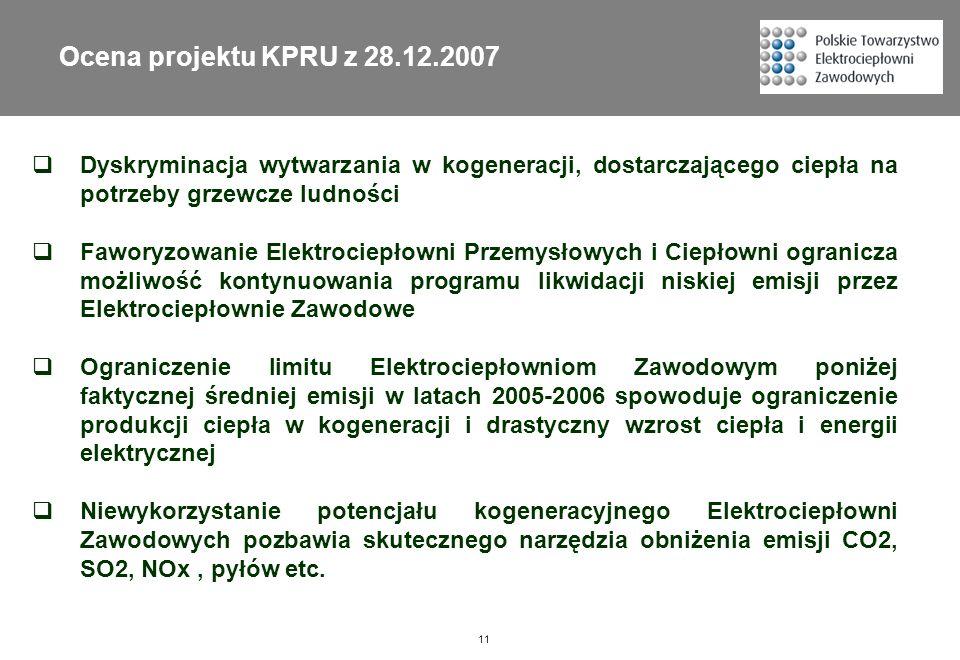 11 Ocena projektu KPRU z 28.12.2007 Dyskryminacja wytwarzania w kogeneracji, dostarczającego ciepła na potrzeby grzewcze ludności Faworyzowanie Elektr