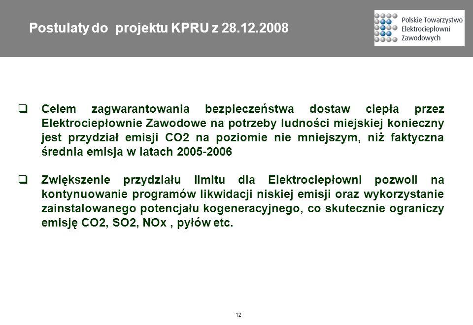 12 Postulaty do projektu KPRU z 28.12.2008 Celem zagwarantowania bezpieczeństwa dostaw ciepła przez Elektrociepłownie Zawodowe na potrzeby ludności mi