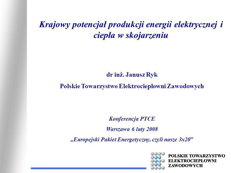 Krajowy potencjał produkcji energii elektrycznej i ciepła w skojarzeniu dr inż. Janusz Ryk Polskie Towarzystwo Elektrociepłowni Zawodowych Konferencja