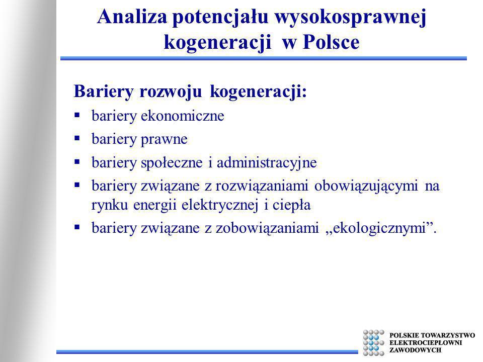 Analiza potencjału wysokosprawnej kogeneracji w Polsce Bariery rozwoju kogeneracji: bariery ekonomiczne bariery prawne bariery społeczne i administrac