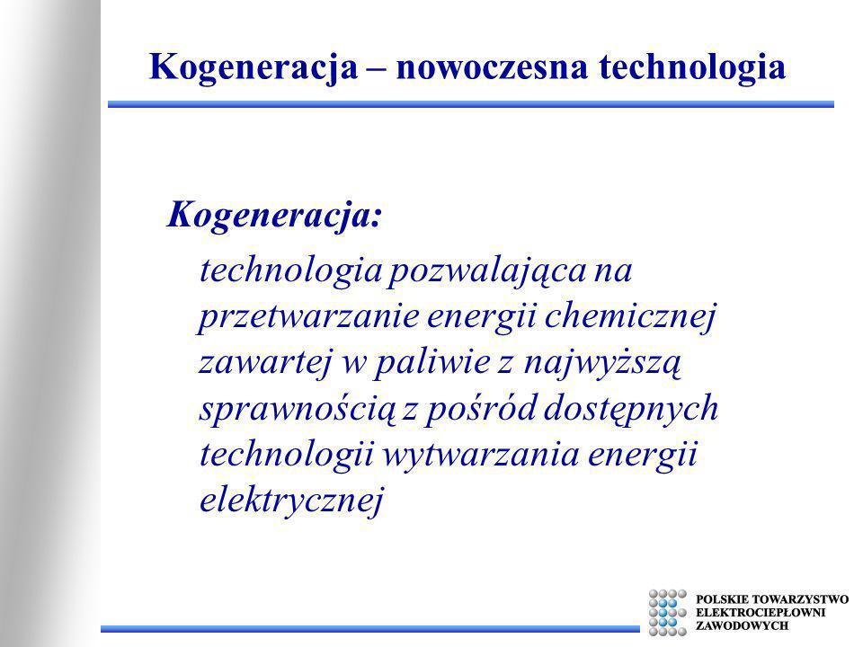 Kogeneracja: technologia pozwalająca na przetwarzanie energii chemicznej zawartej w paliwie z najwyższą sprawnością z pośród dostępnych technologii wy