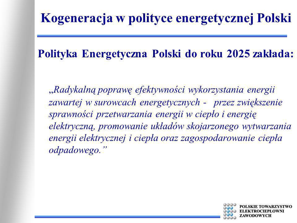 Polityka Energetyczna Polski do roku 2025 zakłada: Radykalną poprawę efektywności wykorzystania energii zawartej w surowcach energetycznych - przez zw