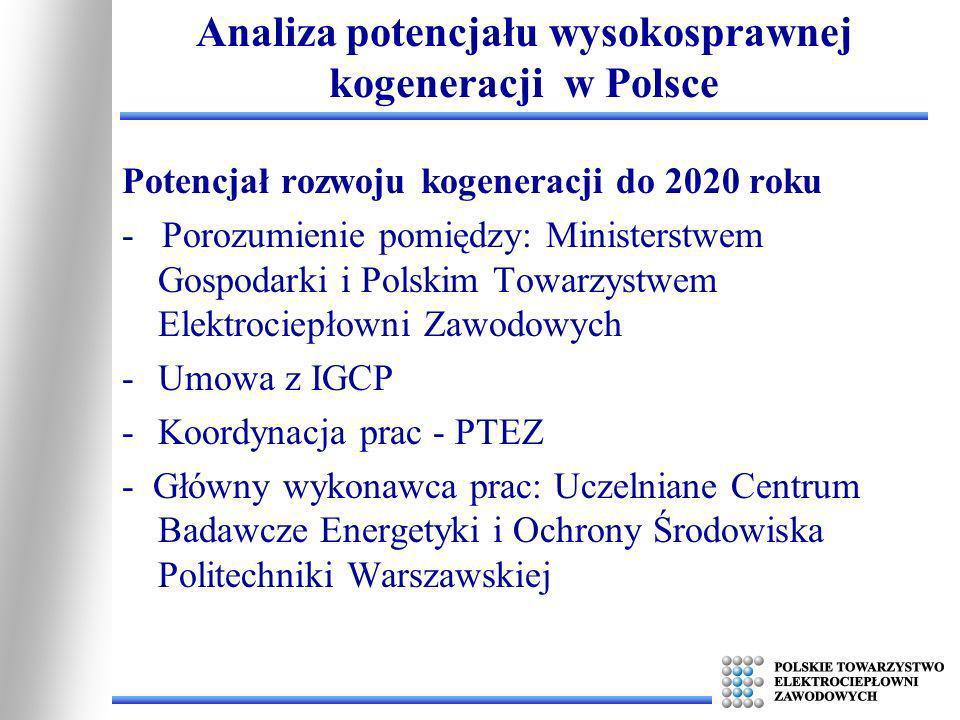 Potencjał rozwoju kogeneracji do 2020 roku - Porozumienie pomiędzy: Ministerstwem Gospodarki i Polskim Towarzystwem Elektrociepłowni Zawodowych -Umowa