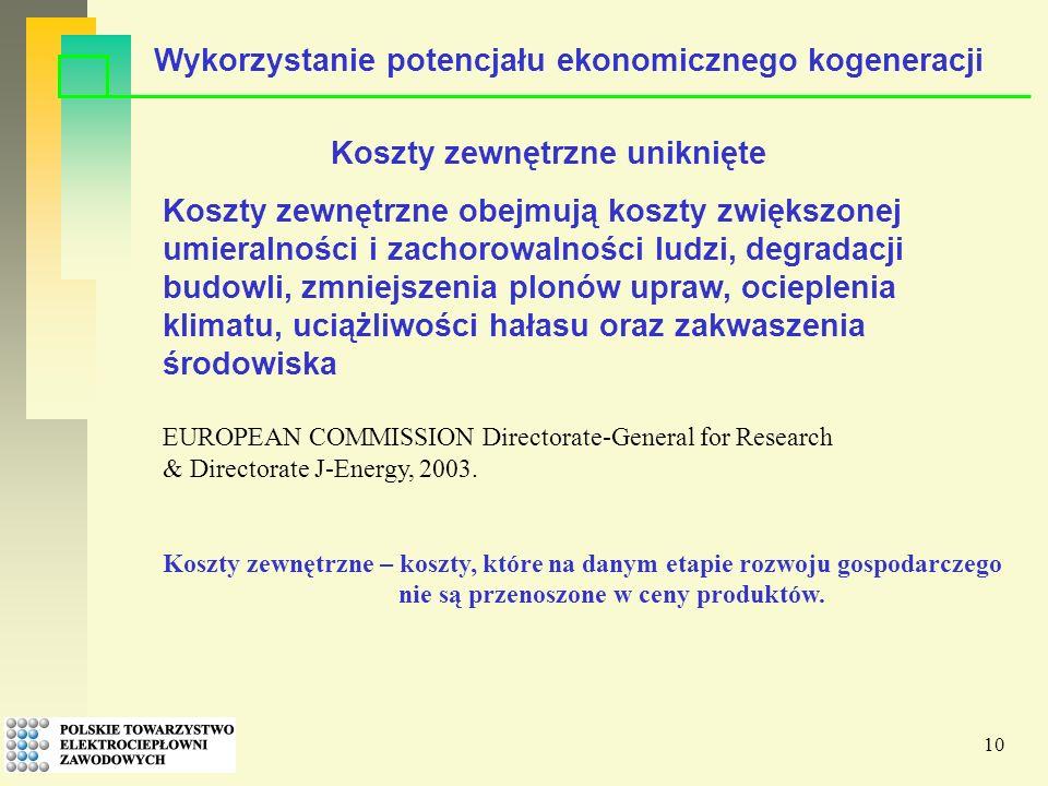 10 Koszty zewnętrzne obejmują koszty zwiększonej umieralności i zachorowalności ludzi, degradacji budowli, zmniejszenia plonów upraw, ocieplenia klimatu, uciążliwości hałasu oraz zakwaszenia środowiska EUROPEAN COMMISSION Directorate-General for Research & Directorate J-Energy, 2003.