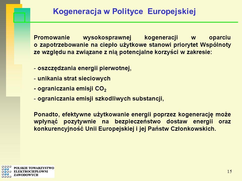 15 Promowanie wysokosprawnej kogeneracji w oparciu o zapotrzebowanie na ciepło użytkowe stanowi priorytet Wspólnoty ze względu na związane z nią potencjalne korzyści w zakresie: - oszczędzania energii pierwotnej, - unikania strat sieciowych - ograniczania emisji CO 2 - ograniczania emisji szkodliwych substancji, Ponadto, efektywne użytkowanie energii poprzez kogenerację może wpłynąć pozytywnie na bezpieczeństwo dostaw energii oraz konkurencyjność Unii Europejskiej i jej Państw Członkowskich.