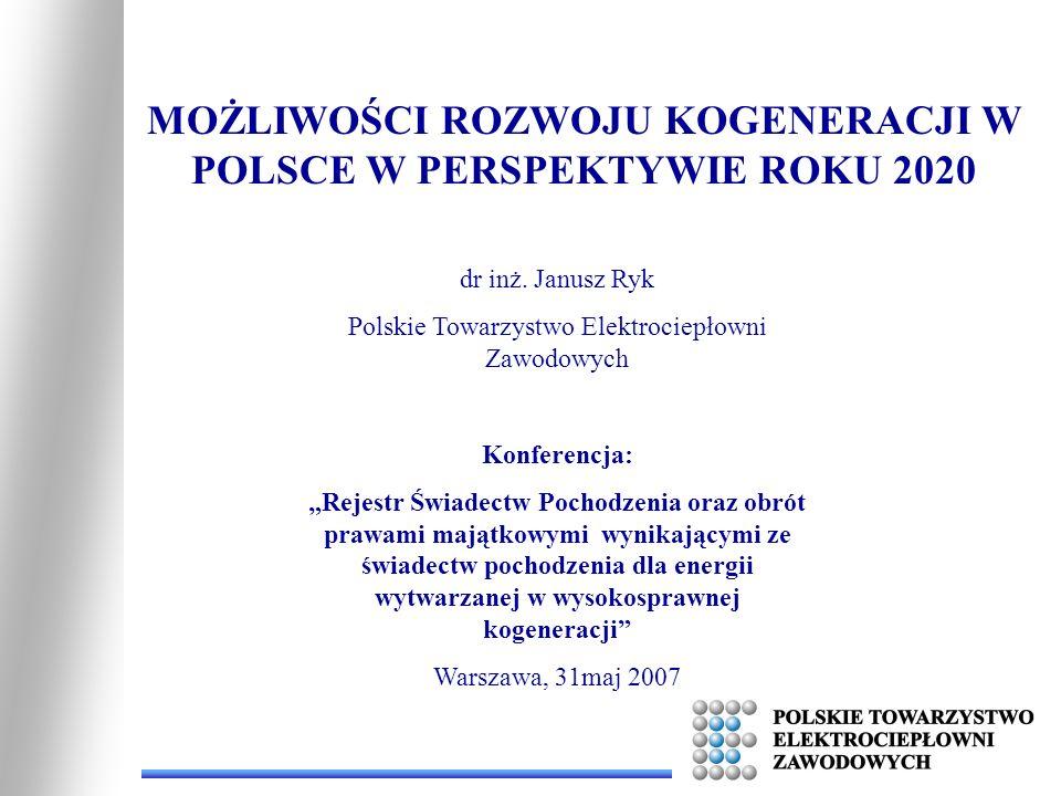 Możliwości rozwoju kogeneracji w Polsce w perspektywie roku 2020 - Wielkość energii elektrycznej wytwarzanej w skojarzeniu zgodnie z obowiązującymi zasadami (70% sprawność ogólna) – 16 704 MWh - Produkcja energii wysokosprawnej 24 183 MWh (Dane za rok 2004, ARE) Wrasta ilość energii elektrycznej uprawnionej do korzystania z mechanizmów wsparcia o ok.