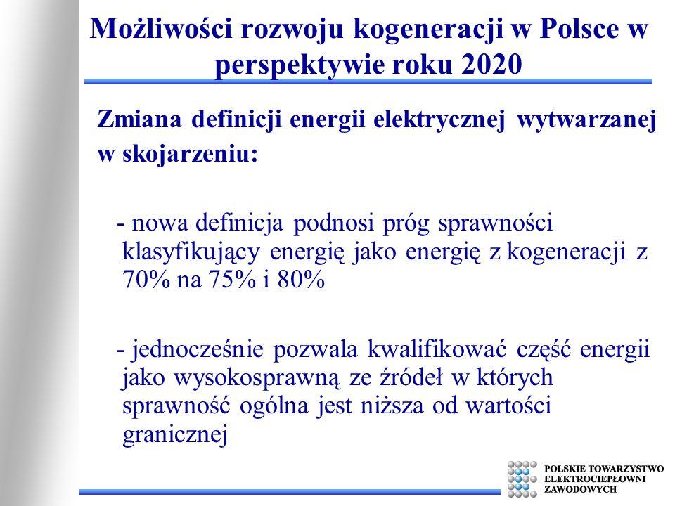 Zmiana definicji energii elektrycznej wytwarzanej w skojarzeniu: - nowa definicja podnosi próg sprawności klasyfikujący energię jako energię z kogener