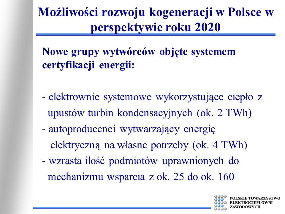 Możliwości rozwoju kogeneracji w Polsce w perspektywie roku 2020 Nowe grupy wytwórców objęte systemem certyfikacji energii: - elektrownie systemowe wy