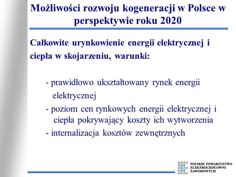 Całkowite urynkowienie energii elektrycznej i ciepła w skojarzeniu, warunki: - prawidłowo ukształtowany rynek energii elektrycznej - poziom cen rynkow