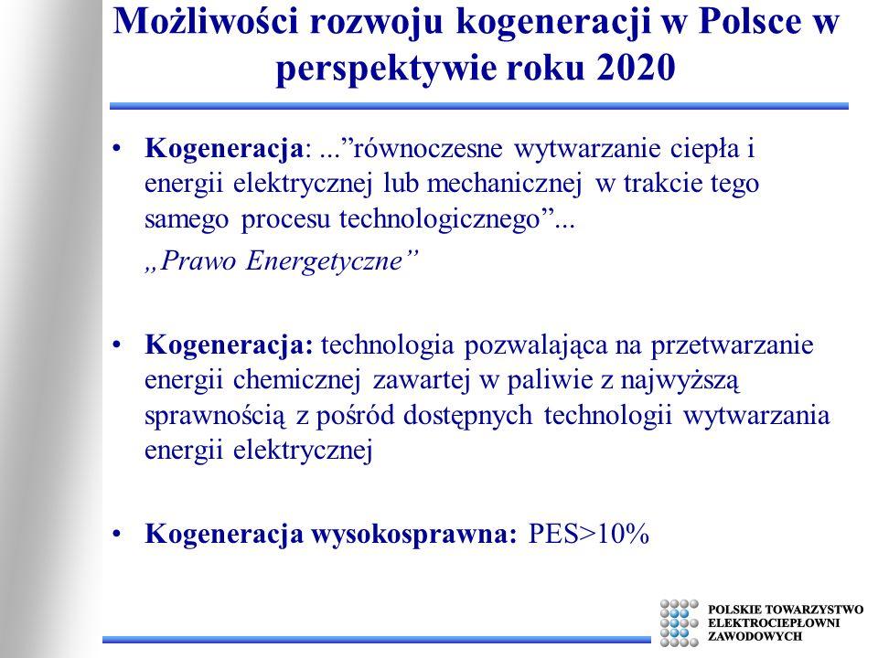 Możliwości rozwoju kogeneracji w Polsce w perspektywie roku 2020 Produkcja energii elektrycznej w skojarzeniu przy wykorzystaniu pełnego potencjału ekonomicznego